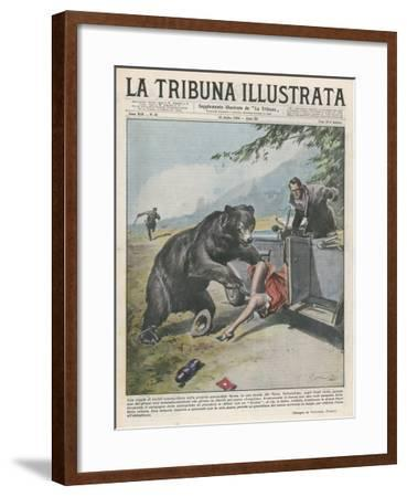 In Yellowstone a Bear Pats a Woman in a Car-Vittorio Pisani-Framed Giclee Print