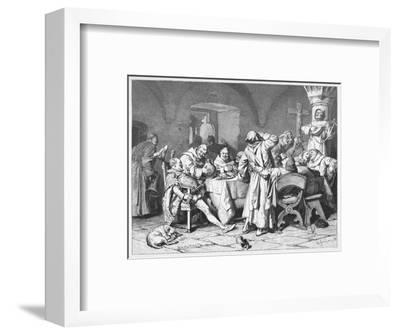 German Monks Entertain a Visitor with the Wine of the Cloister-W. Grubner-Framed Giclee Print