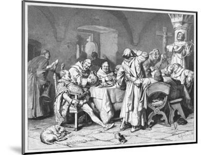 German Monks Entertain a Visitor with the Wine of the Cloister-W. Grubner-Mounted Giclee Print