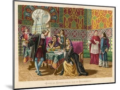 Columbus Agrees Terms with King Ferdinand and Queen Isabella- Planetta-Mounted Giclee Print