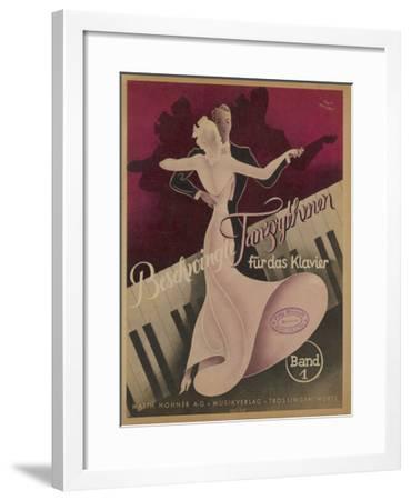 Couple Dancing to Popular Songs of the Day Such as Schade Dass Man Per Telefon Nicht Kussen Kann-Knut Hilscher-Framed Giclee Print