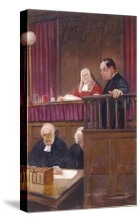 The Wisdom of Father Brown, the Priestly Detective Gives Evidence in Court-Seymour Lucas-Stretched Canvas Print