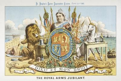 Victoria Depicted with Her Loyal Lion-Tom Merry-Stretched Canvas Print