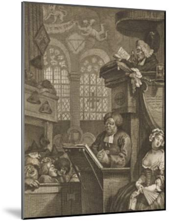 The Sleeping Congregation a Preacher is Reading His Sermon to a Sleeping Congregation-William Hogarth-Mounted Giclee Print