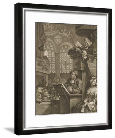 The Sleeping Congregation a Preacher is Reading His Sermon to a Sleeping Congregation-William Hogarth-Framed Giclee Print