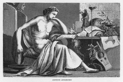 Aristotle Greek Philosopher as a Young Man Reading at His Desk-C. Laplante-Stretched Canvas Print