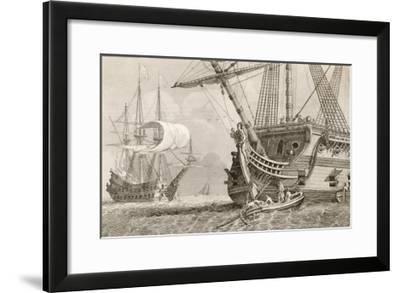 French Warships at Anchor- Morel-Framed Giclee Print