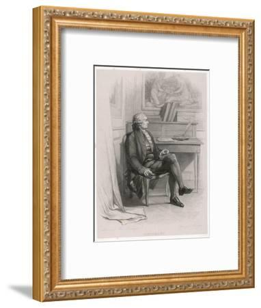 Marquis de Condorcet French Philosopher Sitting at His Desk- Nargeot-Framed Giclee Print