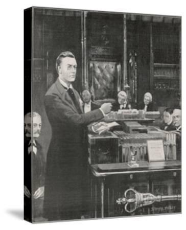 Joseph Chamberlain Liberal Politician Speaking in the House of Commons on 2 August 1901-Sidney Paget-Stretched Canvas Print