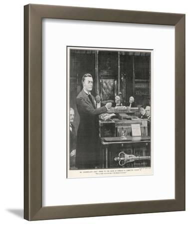 Joseph Chamberlain Liberal Politician Speaking in the House of Commons on 2 August 1901-Sidney Paget-Framed Giclee Print