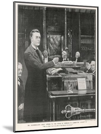 Joseph Chamberlain Liberal Politician Speaking in the House of Commons on 2 August 1901-Sidney Paget-Mounted Giclee Print