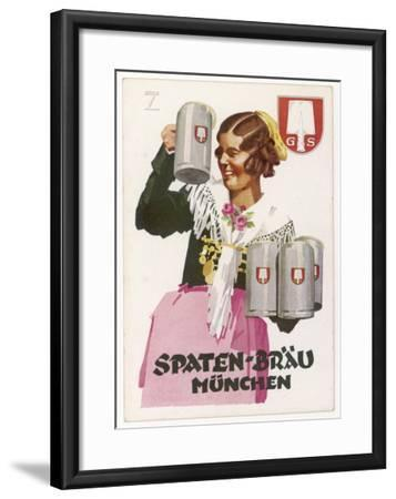 Waitress Brings Four Seidels of Frothy Spaten-Brau-Ludwig Hohlwein-Framed Giclee Print