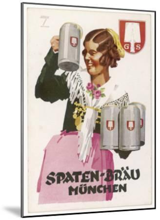Waitress Brings Four Seidels of Frothy Spaten-Brau-Ludwig Hohlwein-Mounted Giclee Print