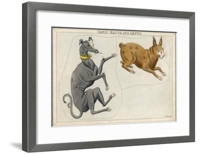Canis Major (Dog) and Lepus (Hare) Constellation-Sidney Hall-Framed Giclee Print