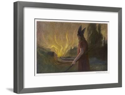 Wotans Abschied Wotan's Farewell to Brunnhilde-Hermann Hendrich-Framed Giclee Print