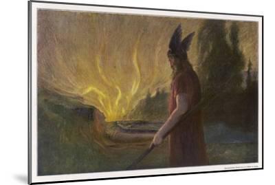Wotans Abschied Wotan's Farewell to Brunnhilde-Hermann Hendrich-Mounted Giclee Print