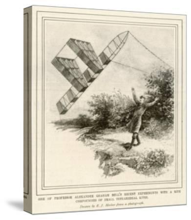 The Inventor Alexander Graham Bell Flying His Tetrahedral Kite-E.j. Meeker-Stretched Canvas Print