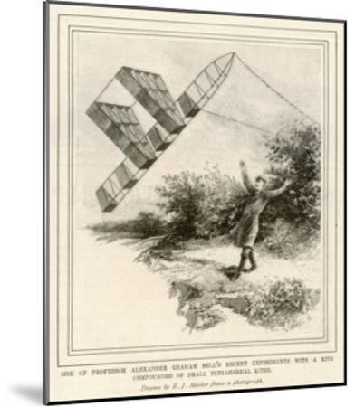 The Inventor Alexander Graham Bell Flying His Tetrahedral Kite-E.j. Meeker-Mounted Giclee Print