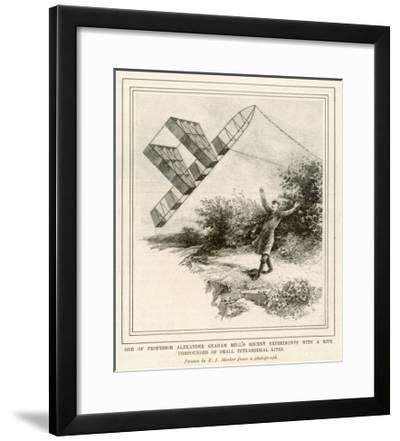 The Inventor Alexander Graham Bell Flying His Tetrahedral Kite-E.j. Meeker-Framed Giclee Print