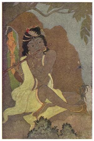 Krishna, The 8th Avatar of Vishnu with Radha, One of the Gopis-Khitindra Nath Mazumdar-Stretched Canvas Print