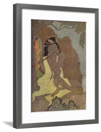 Krishna, The 8th Avatar of Vishnu with Radha, One of the Gopis-Khitindra Nath Mazumdar-Framed Giclee Print
