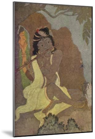 Krishna, The 8th Avatar of Vishnu with Radha, One of the Gopis-Khitindra Nath Mazumdar-Mounted Giclee Print
