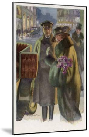 An Elegant Viennese Lady Enters Her Chauffeur-Driven Car at Night Clutching a Bunch of Roses-H. Schubert-Mounted Giclee Print