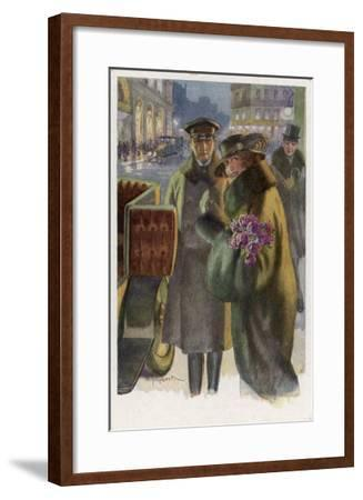 An Elegant Viennese Lady Enters Her Chauffeur-Driven Car at Night Clutching a Bunch of Roses-H. Schubert-Framed Giclee Print