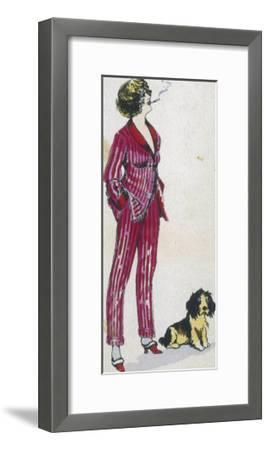 Forward Young Woman Wears a Cerise Pink and Red Pyjama Suit-Xavier Sager-Framed Giclee Print
