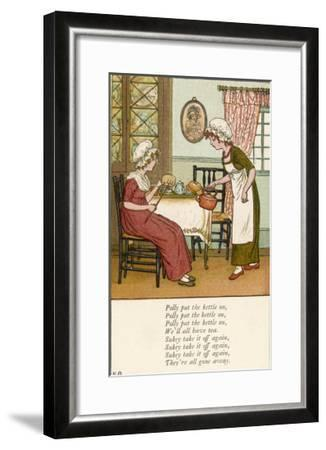 Polly Put the Kettle on We'll All Have Tea-Kate Greenaway-Framed Giclee Print