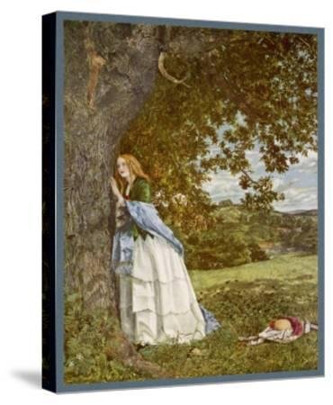 """""""The Talking Oak"""", Illustration to the Poem by Tennyson: a Girl and a Tree Share Confidences-W. Maw-Stretched Canvas Print"""