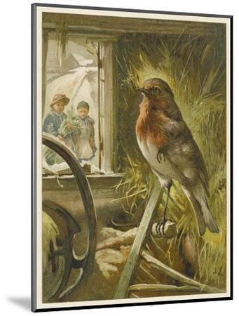 Two Children Watch a Robin the Barn Who is Standing on One Leg-John Lawson-Mounted Giclee Print