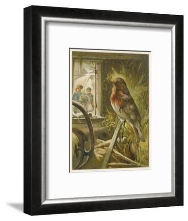 Two Children Watch a Robin the Barn Who is Standing on One Leg-John Lawson-Framed Giclee Print