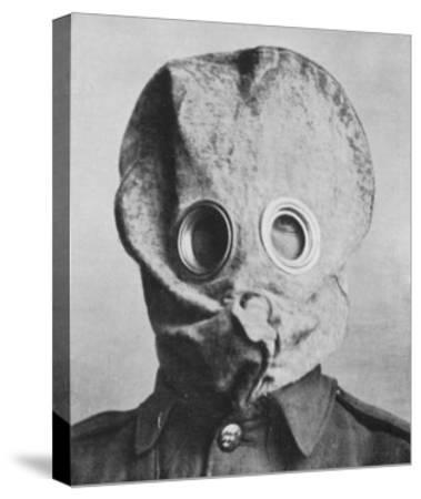 """British Soldier in """"Anti-Gas Helmet"""", Gas Mask--Stretched Canvas Print"""