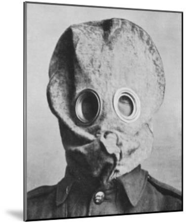 """British Soldier in """"Anti-Gas Helmet"""", Gas Mask--Mounted Giclee Print"""