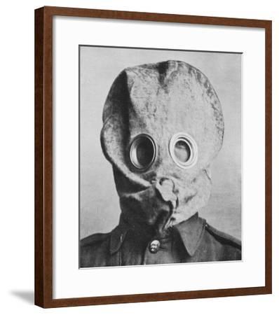 "British Soldier in ""Anti-Gas Helmet"", Gas Mask--Framed Giclee Print"