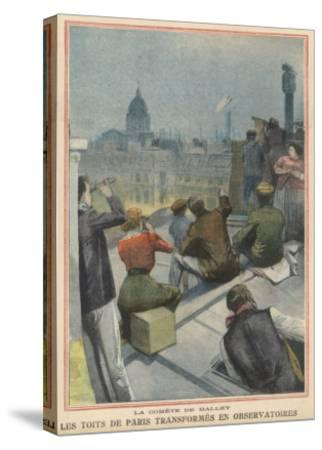 Parisians Gather on Their Rooftops to Observe Halley's Comet--Stretched Canvas Print