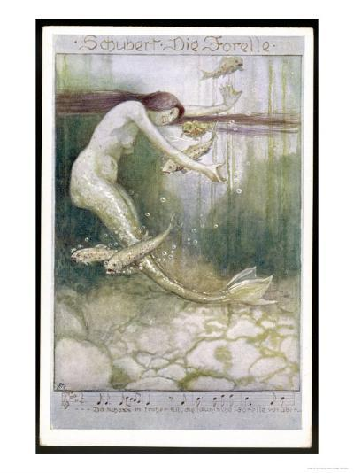 """Mermaid and Fish, Illustration to Schubert's """"Die Forelle"""", The Trout--Giclee Print"""