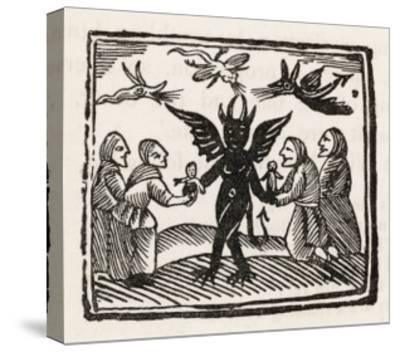 The Devil Dances with Four of His Worshippers While Demons Cavort Over Their Heads--Stretched Canvas Print
