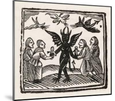 The Devil Dances with Four of His Worshippers While Demons Cavort Over Their Heads--Mounted Giclee Print