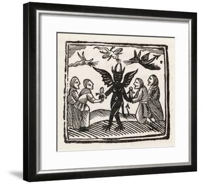 The Devil Dances with Four of His Worshippers While Demons Cavort Over Their Heads--Framed Giclee Print