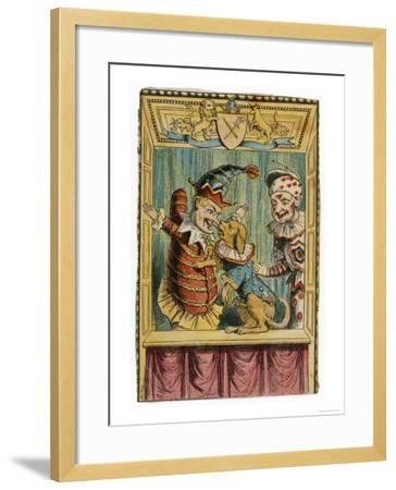 Mr. Punch with Toby the Dog and a Clown--Framed Giclee Print