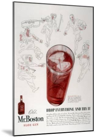 Advertisement for Old Mr. Boston Slow Gin--Mounted Giclee Print