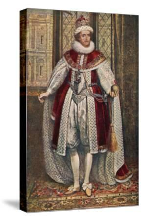 James I of England James VI of Scotland in State Robes Holding Orb and Sceptre--Stretched Canvas Print