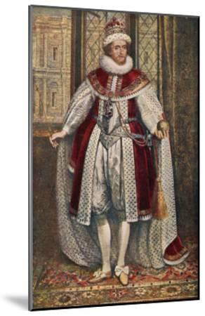 James I of England James VI of Scotland in State Robes Holding Orb and Sceptre--Mounted Giclee Print