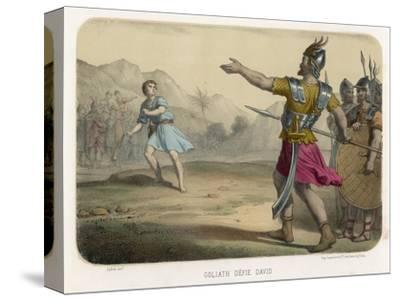 The Young David Challenges the Mighty Goliath--Stretched Canvas Print