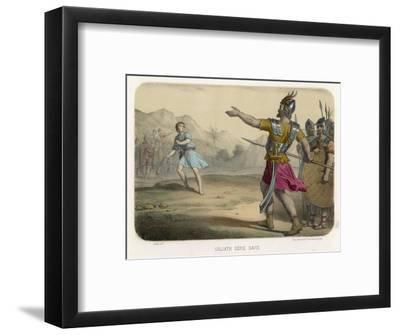 The Young David Challenges the Mighty Goliath--Framed Giclee Print