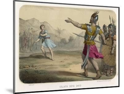 The Young David Challenges the Mighty Goliath--Mounted Giclee Print