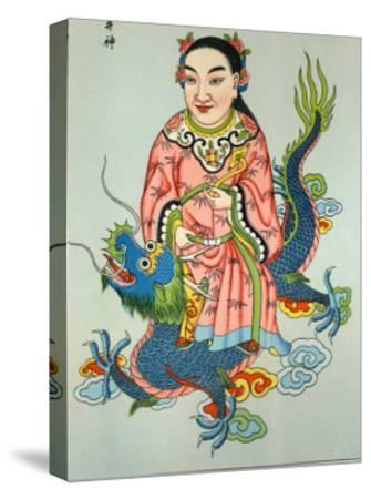 Tsing-Chen the Chinese Spirit of the Wells Rides a Blue Dragon--Stretched Canvas Print