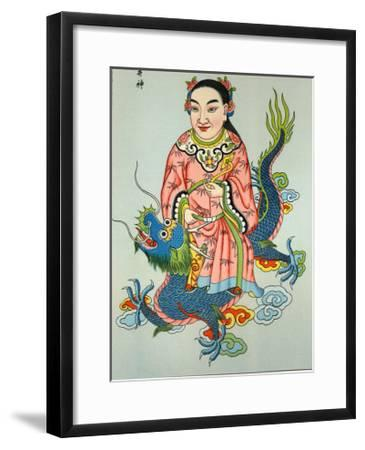 Tsing-Chen the Chinese Spirit of the Wells Rides a Blue Dragon--Framed Giclee Print